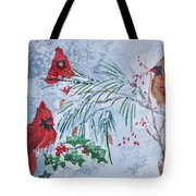 Three Cardinals In The Snow With Holly Tote Bag