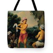 Three Caribbean Washerwomen By A River Tote Bag