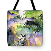 Three Cats On The Penon De Ifach Tote Bag