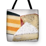 Three Cheese Wedges Distressed Tote Bag