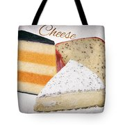 Three Cheese Wedges Distressed Text Tote Bag