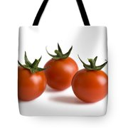Three Cherry Tomatoes Isolated Tote Bag