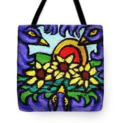 Three Crows And Sunflowers Tote Bag by Genevieve Esson