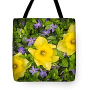 Three Daffodils In Blooming Periwinkle Tote Bag