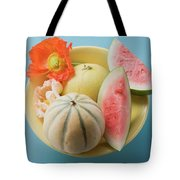 Three Different Melons In Bowl (overhead View) Tote Bag