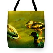 Three Ducks On Golden Pond Tote Bag