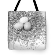 Three Eggs In A Nest Black And White Tote Bag