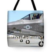 Three F-35b Lightning IIs At Marine Tote Bag