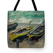 Three Fishing Boats Monet 1886 Tote Bag