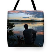 Three Fishing One Pole Tote Bag