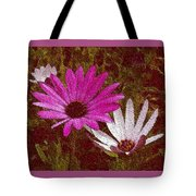 Three Flowers On Maroon Tote Bag