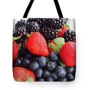 Three Fruit Closeup - Strawberries - Blueberries - Blackberries Tote Bag by Barbara Griffin
