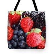 Three Fruit - Strawberries - Blueberries - Blackberries Tote Bag
