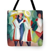 Three Girls With Yellow Hats Tote Bag