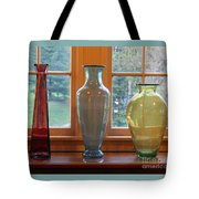 Three Glass Vases In A Window Tote Bag