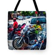 Three Guys On Bikes Tote Bag