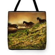 Three Horse's On The Run Tote Bag