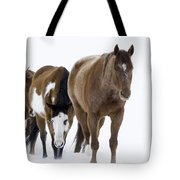 Three Horses Walking Through The Snow Tote Bag by Carol Walker