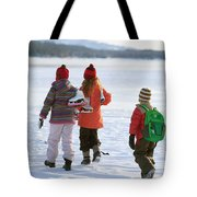 Three Kids Heading Out To Ice Skate Tote Bag