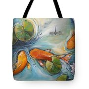 Three Koi Fishes - The Search Tote Bag