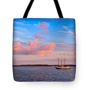 Three Masted Schooner At Anchor In The St Marys River Tote Bag
