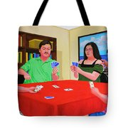 Three Men And A Lady Playing Cards Tote Bag