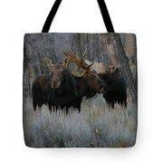 Three Moose In The Woods Tote Bag