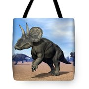Three Nedoceratops In The Desert Tote Bag