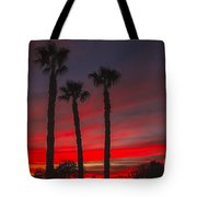 Three Palm Sunset Tote Bag