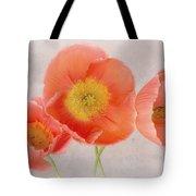 Three Peach Poppies Tote Bag