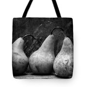 Three Pear Still Life Black And White Tote Bag by Edward Fielding