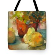 Three Pears And A Pot Tote Bag by Michelle Abrams