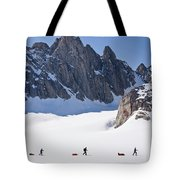 Three People Ski-tour On Karale Glacier Tote Bag