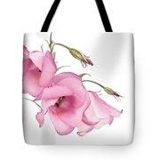Three Pink Lisianthus Flowers Tote Bag