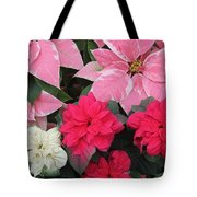Three Pink Poinsettias Tote Bag
