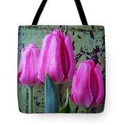 Three Pink Tulips Tote Bag