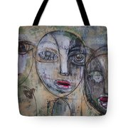 Three Portraits On Paper Tote Bag