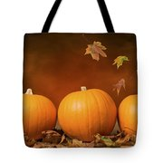 Three Pumpkins Tote Bag by Amanda Elwell