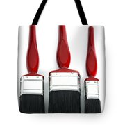 Three Red Paint Brushes Tote Bag