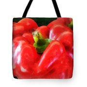 Three Red Peppers Tote Bag