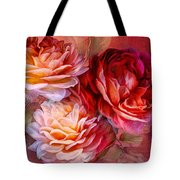 Three Roses Red Greeting Card Tote Bag