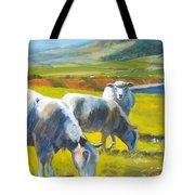Three Sheep On A Devon Cliff Top Tote Bag