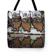 Three Skulls Graffiti Tote Bag