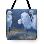 Three Snowy Egrets Tote Bag