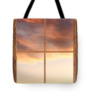 Three Trees Sunrise Barn Wood Picture Window Frame View Tote Bag