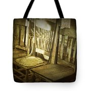 Three Vintage Wooden Chairs Tote Bag
