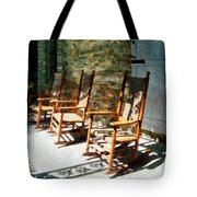 Three Wooden Rocking Chairs On Sunny Porch Tote Bag