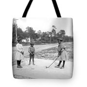 Three Young Children Play Golf Tote Bag