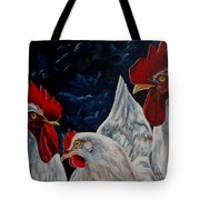 Three's A Crowd   -    Roosters -chicken Tote Bag