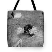 Thrown Bull Rider Rodeo Tohono O'odham Reservation Sells Arizona 1969  Tote Bag